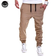 Mens Joggers 2016 Marca Pantalones Masculinos Hombres Pantalones Casuales Pantalones de Chándal Basculador de color caqui Sólido Negro de Gran Tamaño 4XL