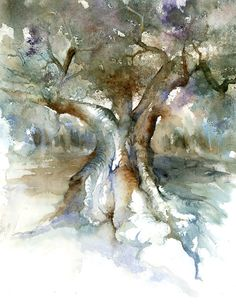 Images du Sud Watercolor Images, Watercolor Trees, Easy Watercolor, Watercolor Sketch, Abstract Watercolor, Watercolour Painting, Watercolor Landscape Paintings, Watercolours, Ink In Water