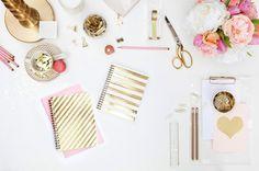 | Kate Spade | Nate Berkus @ Target | Russell + Hazel | Glam Decor | Gold Pink | Office Design | Workspace Ideas