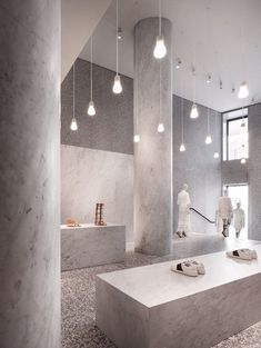 World Architecture Community News - David Chipperfield Architects adds new materials and techniques to Valentino Roman Flagship store Vintage Industrial Lighting, Industrial Light Fixtures, Led Light Fixtures, Rustic Lighting, Led Light Design, Lighting Design, Shop Lighting, Lighting Ideas, Boutique Cuir