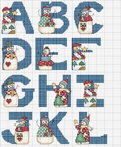 Snowman Alphabet Cross Stitch