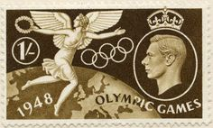 Olympic Games 1948 - Winged Victory. Great Britain stamp issued 29 July 1948. Designer: Edmund Dulac.