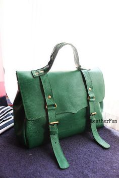 Handmade Vintage Green Cow Leather by LeatherFun on Etsy, $179.00