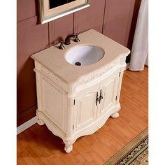 Silkroad 33 inch Antique White Single Sink Bathroom Vanity, Cream Marfil Marble Counter Top
