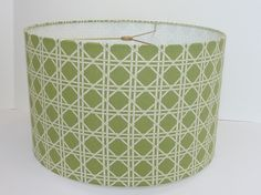 Drum lampshade in Waverly criss cross fabric by LampShadeDesigns.