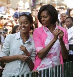 First lady Michelle Obama and First Daughter Malia Obama