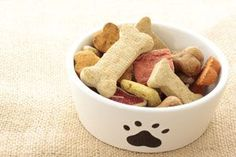 Basic Dog Biscuits from Cesar Millan.  2 1/2 cups whole wheat flour (or substitute regular flour or oats, I used oats and a bit of whole wheat bran), 1/2 tsp salt, 1 egg, 1 tsp beef or chicken stock, 1/2 cup hot water; Preheat oven to 350, knead together ingredients, roll dough to 1/2 inch thick, cut into slices/bone shapes, cook for 30 mins on lightly greased cookie sheet.  George is a fan!