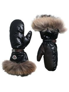 WOMEN's DOWN QUILTED FUR TRIM MITTS