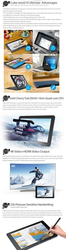 10.1'' IPS Upgraded Cube iwork10 Ultimate Windows10+Android 5.1 Tablet PC 1920x1200 Intel Atom X5-Z8350 Quad Core HDMI Camera