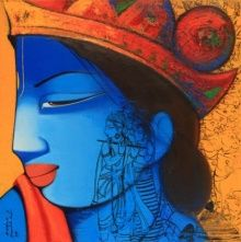 Artist Anand Panchal's Lord Krishna And Radha Painting Online. Blue acrylic Painting by Anand Panchal on Canvas, Religious based on theme Anand Panchal. Tanjore Painting, Krishna Painting, Krishna Art, Lord Krishna, Shree Krishna, Shiva, Indian Women Painting, Indian Artist, Indian Paintings
