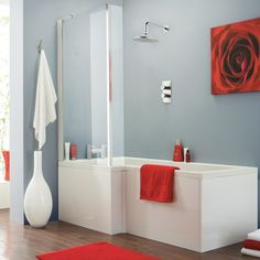 crown baths > square shower bath with screen & panels (left handed). Freestanding Bath With Shower, P Shaped Bath, Straight Baths, Square Bath, Bath Screens, Shower Set, Bath Shower, Luxury Bath, Shower Enclosure