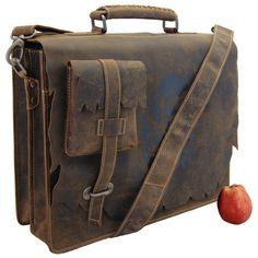 *41 cm Aktentasche SHATTERHAND aus Western-Leder - Laptop und Ordner immer dabei !