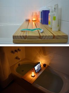 Set up your ultimate bath time retreat — or an easy-reach bathing station for all the kids' shampoos and soaps. | 27 Clever Projects Anyone Can Make With 2x4s