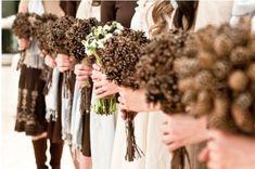 Rustic Weddings..pinecone bouquets!