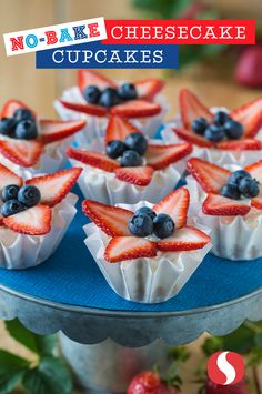 Step away from the oven! This No Bake Cheesecake Cupcake recipe is so yummy and perfect for Memorial Day! Sprinkle coconut shreds on top of the berries for even more coconut flavor or try it with fresh kiwi, mango, pineapple or papaya for a tropical take on this simple dessert.