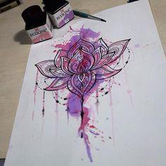 Lotus flower tattoo - Watercolor