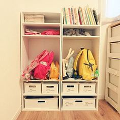 My Shelf/カラーボックス/子供部屋/ニトリ/子供と暮らす/お支度ロッカー/初投稿 収納/初めての投稿強化月間!についてのインテリア実例。 「念願のお支度ロッカー...」 (2017-04-06 08:54:20に共有されました) Box Shelves, Storage Room, Kids Room, Interior, Baby, House, Furniture, Home Decor, Free