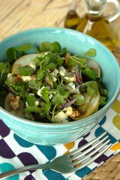 Cinco Quartos de Laranja: Salada de agrião com pêra e queijo azul