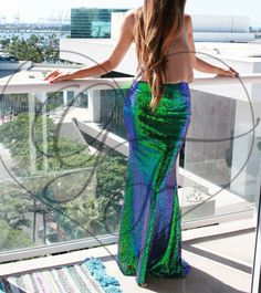 Iridescent Green Stretch Sequin Maxi Skirt - Party // Halloween // Mermaid // Bridesmaids // PROM // HOMECOMING // FORMAL // Wedding