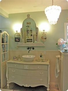Shabby bathroom (from Shabby and Charme) This is so reminiscent of the old wash bowl on a washstand from days gone by! Couldn't resist a repin...