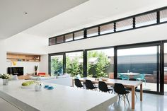 Definitely loving black window frames and louvers for air flow will be on my wishlist. The open-plan kitchen and living spaces. Open Plan Kitchen Living Room, Open Plan Living, Open Space Living, Baby Bed Canopy, House Canopy, Kids Canopy, Backyard Canopy, Bed Tent, Modern Architecture