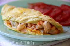 A two egg omelet chocked full of sweet Gulf shrimp and lump crab.