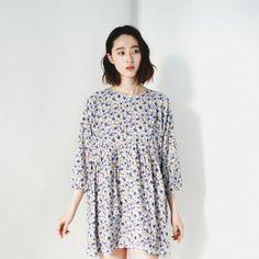 [Beyond #Dresses] A #dress featuring a floral print. Round neckline. 3/4 sleeves. Back zipper placket. #Cute and #Trendy #Style. #Floraldress #KoreanDress #KoreanFashion #Asian #cutedress #flowerdress #springdress