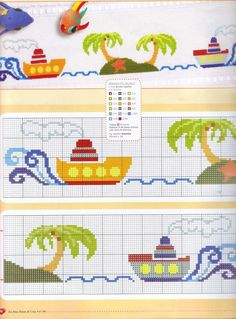 This Pin was discovered by Ang Cross Stitch Sea, Cross Stitch For Kids, Cross Stitch Borders, Cross Stitch Designs, Cross Stitching, Cross Stitch Embroidery, Cross Stitch Patterns, Beading Patterns, Embroidery Patterns
