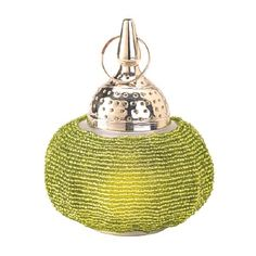 Strings upon strings of delicate and sparkling green beads make this candle lantern a show stopper. Adorned with brightly polished metal, dotted punch-out pattern, shining spire and loop top this breathtaking lantern is sure to be the favorite in your sh Lantern Lamp, Candle Lamp, Candle Lanterns, Wholesale Candle Holders, Cheap Candle Holders, Candle Picture, Lamps For Sale, Wedding Lanterns, Diy Chandelier