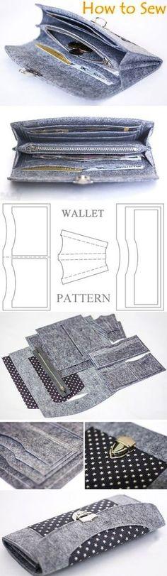 Wallet sewing pattern / tutorial, felt wallet pattern. DIY Photo Tutorial   http://www.handmadiya.com/2016/03/how-to-sew-felt-wallet-purse-tutorial.html