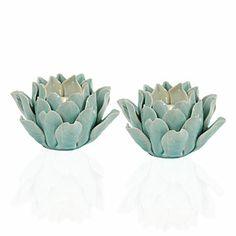 I love how these look like artichokes! Z Gallerie - Fleur Tealight - Aquamarine