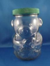 KRAFT PEANUT BUTTER BEAR JAR VINTAGE GLASS COLLECTABLE HOLDING PEANUT BANK TOP Skippy Peanut Butter, Peanut Butter Jar, Glass Collection, Mason Jars, Girly, Bear, Antiques, Flowers, Top