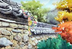 [풍경수채화] 고궁의 가을 (공생) - 수채화 과정 : 네이버 블로그 Landscape Drawings, Canvas Paper, Traditional House, Asian Art, Painting Inspiration, Watercolor Paintings, Texture, Gallery, Artist