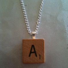Vintage Wooden Scrabble Tile Necklace by tartanmiss on Etsy, £4.50