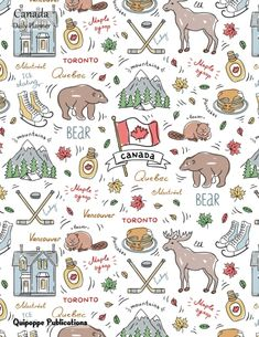 """Canada Daily Planner Daily Spread 2018 October - December Calendar Organizer Appointment Book To Do List, Canada Bear, Beaver, Maple Syrop Pattern DP852018Q4 Cover, 8.5x11"""" #planners #dailyplanners #dailyplanners2018 #nature #animals #bears"""