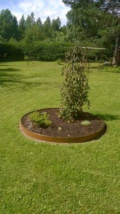 Kukkapenkissä metallireunus, joka ruostuu kauniisti (Oma koti kullankallis)