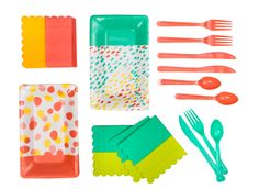 Putting together a party in a pinch? Joy's colorful disposable plates, napkins and silverware make it easy. The Oh Joy for Target collection launches online and in stores March 16.