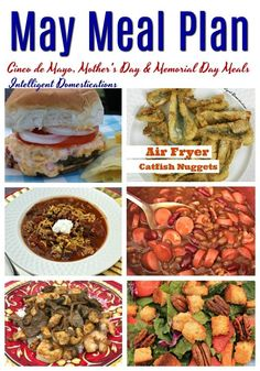 May Meal Plan. Our May Meal Plan includes Cinco de Mayo, Mother& Day and Memorial Day options. Monthly Meal Planning, Menu Planning, Fun Easy Recipes, Dinner Recipes, Homemade Pimento Cheese, Stuffed Peppers With Rice, Baked Chicken Legs, Homemade Mashed Potatoes