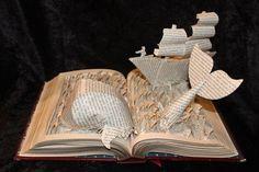 Book Art by Jodi Harvey-Brown Moby Dick Paper Book, Paper Art, Moby Dick, Origami, Grand Art, Book Page Crafts, Art Sculpture, Paper Sculptures, Sculpture Ideas