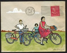 Posse Minneapolis: small original art on 1953 by amyriceart Envelope Lettering, Envelope Art, Going Postal, Writing Paper, Old Postcards, City Art, Whimsical Art, Mail Art, Altered Books