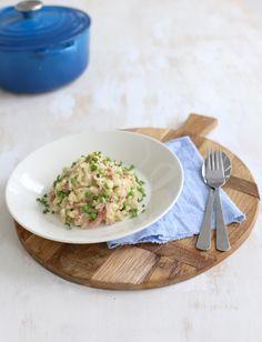 Risotto met ham en doperwtjes - Lekker en simpel (met crime fraiche ilv mascarpone ook erg lekker)