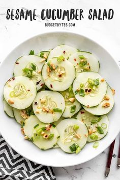 Sesame Cucumber Salad is light, refreshing, and vibrant in flavor. It's the perfect summer side dish or companion to any Southeast Asian inspired meal. Budgetbytes.com Thai Cucumber Salad, Cucumber Recipes, Healthy Salad Recipes, Vegetarian Recipes, Vegetable Recipes, Healthy Meals, Free Digital Scrapbooking, Farmers Market, Kitchen Recipes