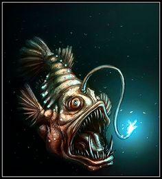 Octopus Tattoos, Fish Tattoos, Ocean Tattoos, Tatoos, Angler Fish Drawing, Monster Fishing, Deep Sea Creatures, Fish Drawings, Fish Sculpture