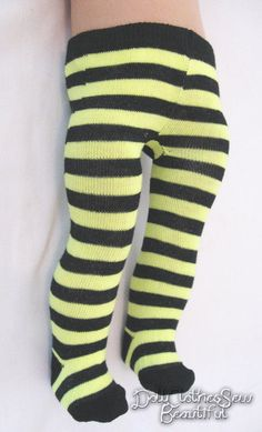 """Yellow/Black Striped Tights made for 18"""" American Girl Doll Clothes BUMBLEBEE!"""
