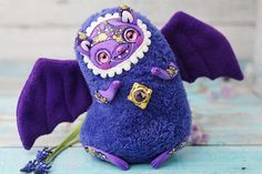 Bat Doll Monster Toy Bat Art Cute Bat Figurine Monster Cute Ooak Doll Kawaii Bat Purple Plush Toy