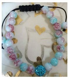 "Willow Grace Jewelry on Twitter: ""Daily Item: Sky Blue & Pink Crackled Glass Bead #Shamballa #Bracelet $12 Reserve Today!"