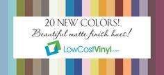 A collection of the 20 beautiful new vinyl colors offered by Orafol for the Oracal 631 Series - Removable Wall and Craft Vinyl in matte finish colors sized to fit your Cricut, Silhouette or other craft cutters. Vinyl Cutter Machine, Craft Cutter, Wall Vinyl, Vinyl Sheets, All Craft, Removable Wall, Vinyl Crafts, Cricut, How To Remove