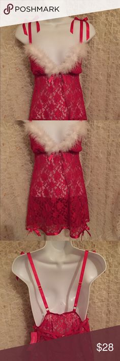 NWT Lace Santa Babydoll nightie @ thong This is new with tag. So gorgeous! The red has beautiful detail in the material but it's sheer. This comes with a matching thong. Straps are adjustable. Very awesome! Very sexy! 100% nylon Enchanting Intimates & Sleepwear