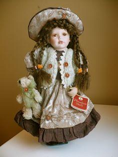 "16"" Porcelain Doll Brown Hair ""Aynsley"" Porcelain Sink, China Porcelain, Porcelain Doll, Painted Porcelain, Japanese Tea Set, Swirl Design, Black Accents, Brown Hair, Peacock"