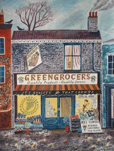 Greengrocers by Emily Sutton - in my youth this was the grocery store.